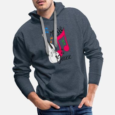 Jazz jazz music with double bass - Men's Premium Hoodie