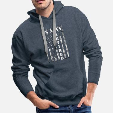 Navy US NAVY Retired - Distressed American Flag - Men's Premium Hoodie