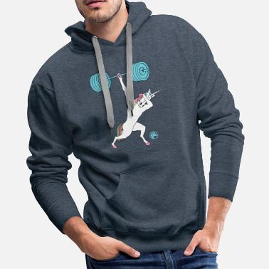 Lifting Dabbing One Handed Clean And Jerk Unicorn Outline - Men's Premium Hoodie