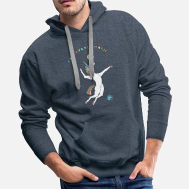 Volleyball Magic Unicorn Outline - Men's Premium Hoodie