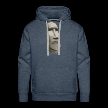 Brown Stone Easter Island Carved Moai Head - Men's Premium Hoodie