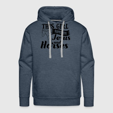 This Girl Runs on Jesus und Horses - Riding Gift - Men's Premium Hoodie