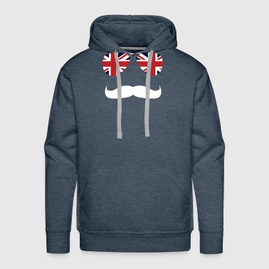 British Flag Sunglasses & Mustache National UK - Men's Premium Hoodie