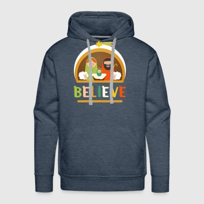 Believe Baby Jesus Christ Nativity Manger Christma - Men's Premium Hoodie