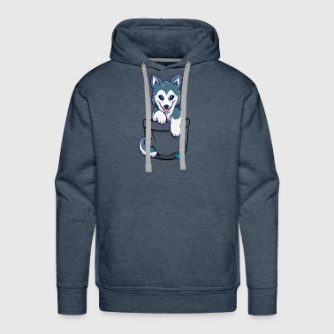 Pocket Cute Husky Puppy T Shirt - Men's Premium Hoodie