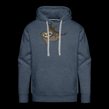 sweet baby sloth hanging on tree, gift idea - Men's Premium Hoodie