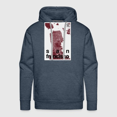 San Francisco hipster city map red - Men's Premium Hoodie