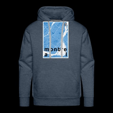 Montreal hipster city map blue - Men's Premium Hoodie