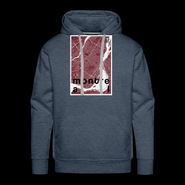 Montreal hipster city map red - Men's Premium Hoodie