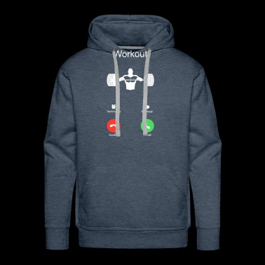 phone call chest workout sports bodybuilding bench - Men's Premium Hoodie