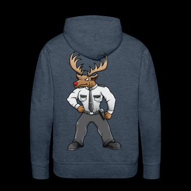 Security deer with red nose - Men's Premium Hoodie