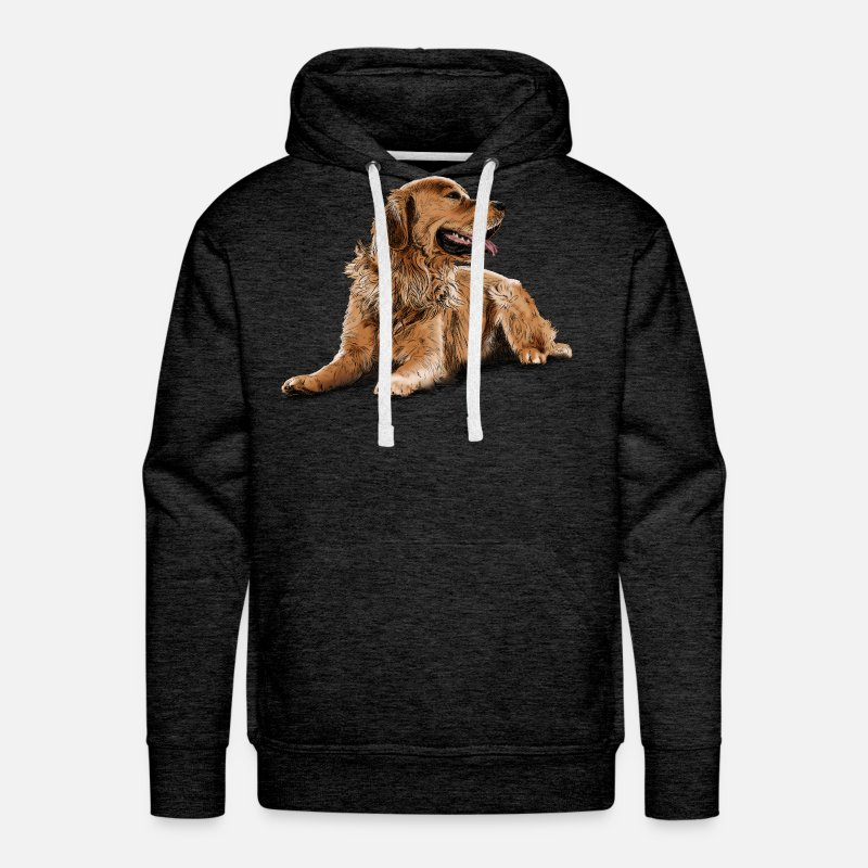 Retriever Hoodies & Sweatshirts - Golden Retriever - Men's Premium Hoodie charcoal gray