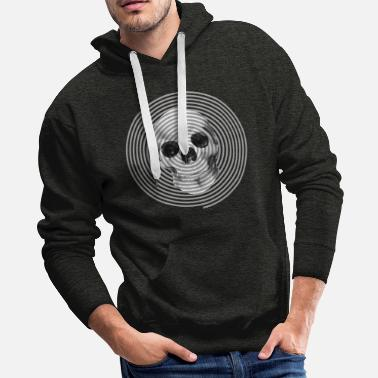 Optical Illusion Optical Art Skull in watercolor - Men's Premium Hoodie