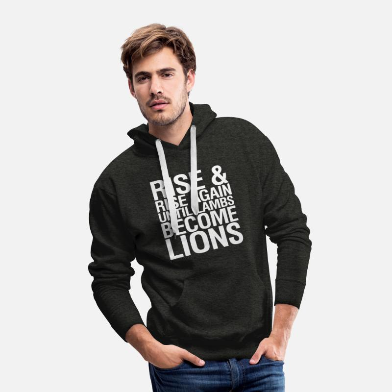 Motivate Rise Hoodies & Sweatshirts - Rise and Rise Again Until Lambs Become LIons - Men's Premium Hoodie charcoal gray