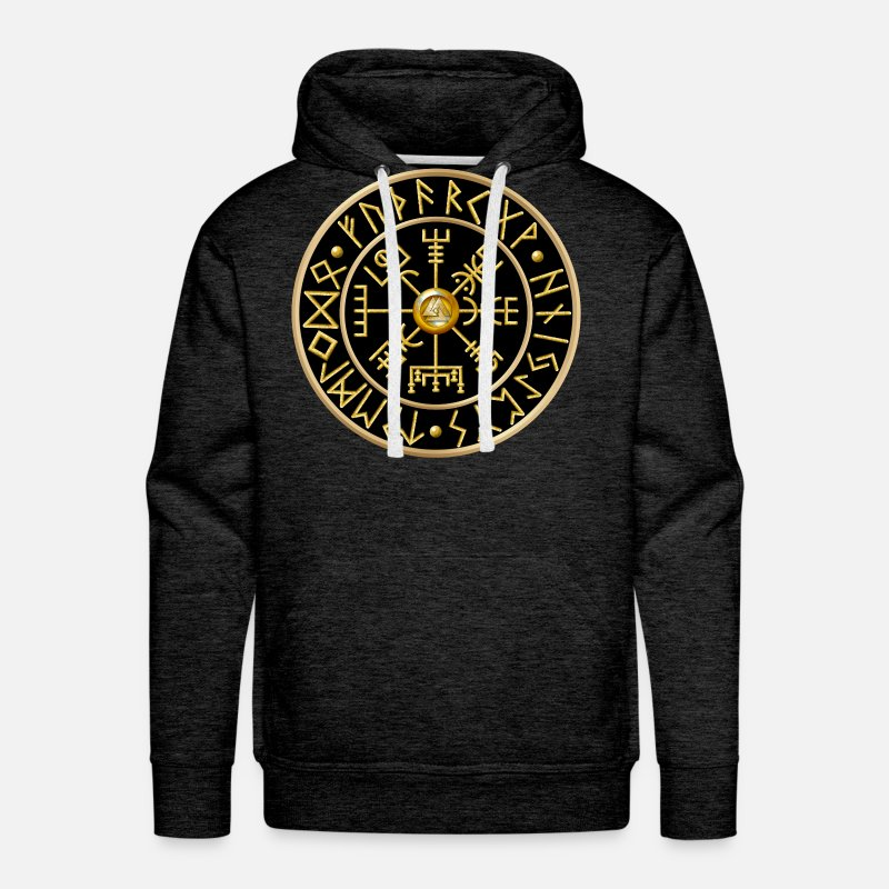 Lovely Hoodies & Sweatshirts - Vegvisir Runes - Black - Men's Premium Hoodie charcoal gray