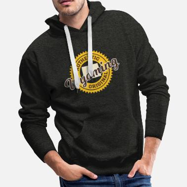 Black Logo WYOMING - AUTHENTIC ORIGINAL - COWBOYS COLORS - Men's Premium Hoodie