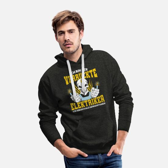 Electronics Hoodies & Sweatshirts - I'm the crazy electrician in front of you all - Men's Premium Hoodie charcoal gray