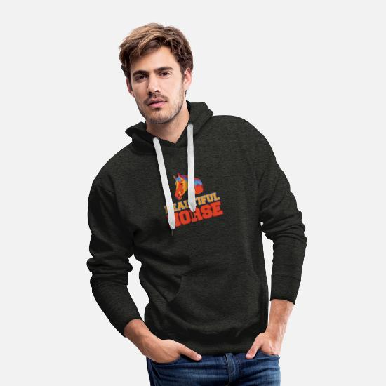 Horseshoe Hoodies & Sweatshirts - Beautiful Horse ride riding girl - Men's Premium Hoodie charcoal gray