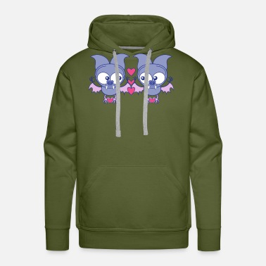 Vector Sweet bats falling in love while creating hearts - Men's Premium Hoodie