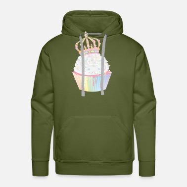 Frost sugary cupcake with candy crown - Men's Premium Hoodie