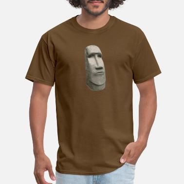 Pacific Brown Stone Easter Island Carved Moai Head - Men's T-Shirt