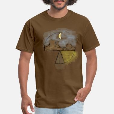 Moon Painting Road to Nowhere Street Mountains Night Moon Paint - Men's T-Shirt