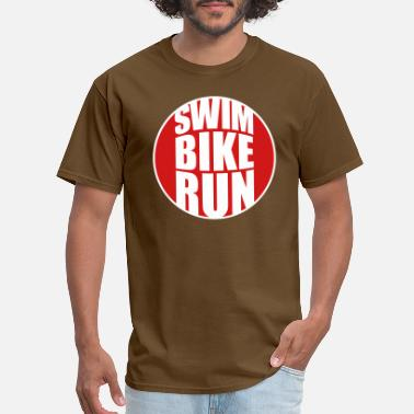 Text Circle round circle logo swim bike run text triathlon spo - Men's T-Shirt