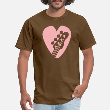 Basslines Bass Guitar Head In Heart-Shaped Bassists Pick pk - Men's T-Shirt