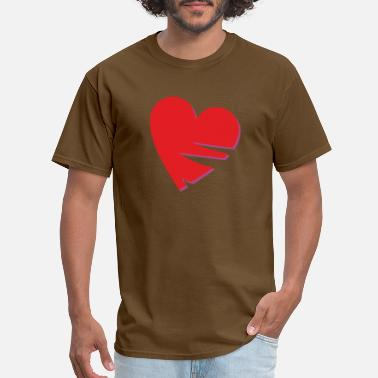 Neckline Heart with missing parts, incised shape - Men's T-Shirt