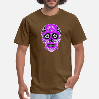 Purple Skull Decorative skull, white, purple - Men's T-Shirt