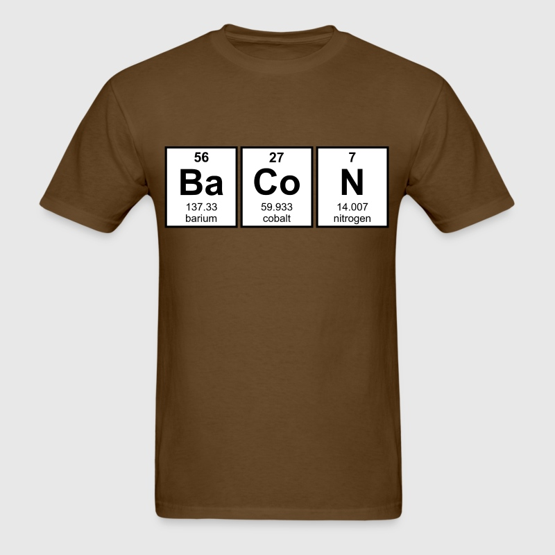 Bacon periodic table element symbols by the shirt yurt spreadshirt bacon periodic table element symbols mens t shirt urtaz Choice Image