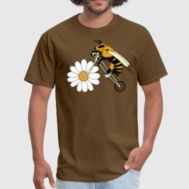 Bee Design Sports Bee Riding Bike With Flower Wheel - Men's T-Shirt