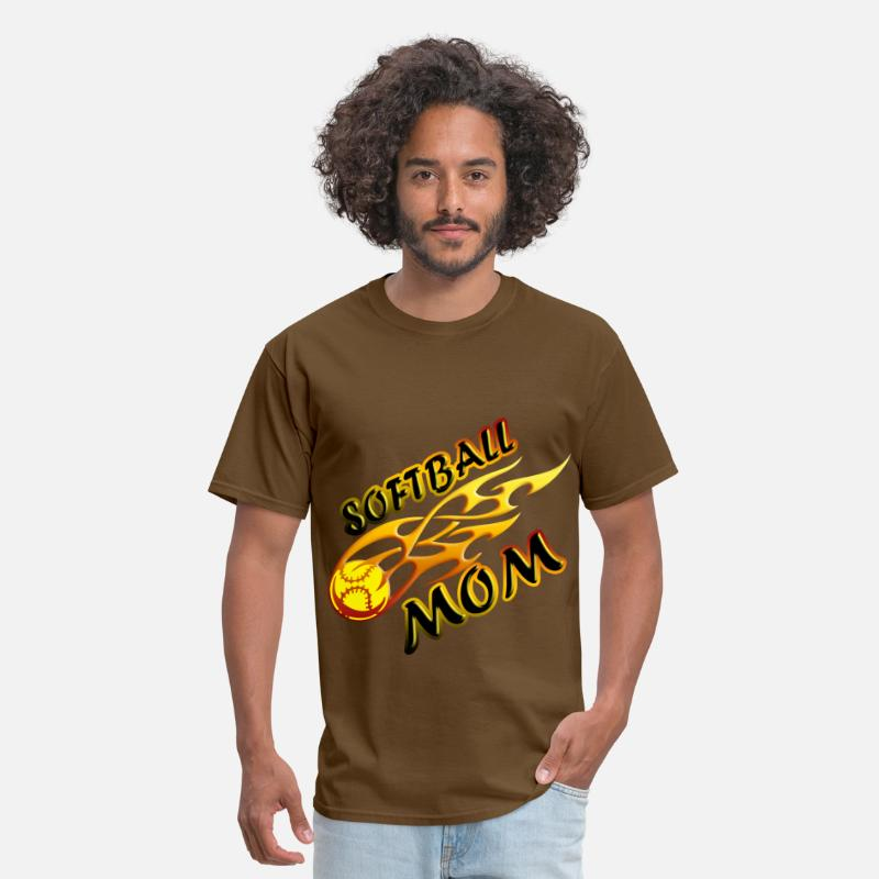 Softball T-Shirts - Softball Mom Ball On Fire - Men's T-Shirt brown