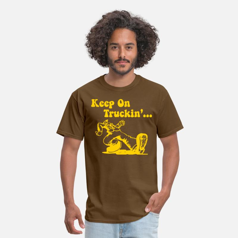 70s T-Shirts - Keep On Truckin - Men's T-Shirt brown