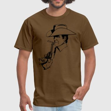 Gun Smoke Cowboy With Smoking Gun - Men's T-Shirt