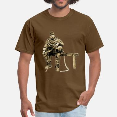 Diving History Vintage Diver with Diving Helmet on a Bench - Men's T-Shirt