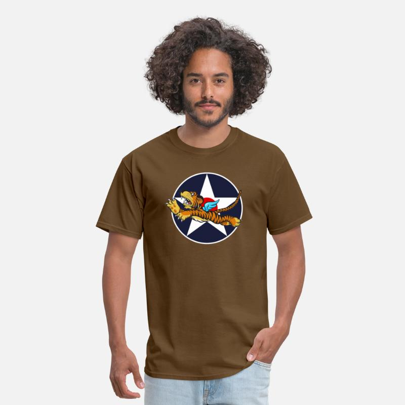 WWII Flying Tiger with Army Air Corps Star Men's T-Shirt - brown