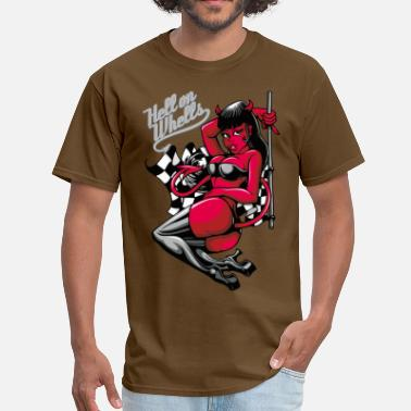 Psychobilly Cartoon Devil Pin-Up Girl - Hell on Wheels - Men's T-Shirt