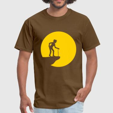 sun round circle moon cliff night evening female f - Men's T-Shirt