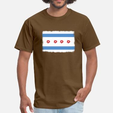 Chicago Flag Bullet Hole Chicago Flag - Men's T-Shirt