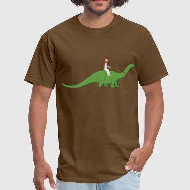 Jesus on a Brontosaurus - Men's T-Shirt