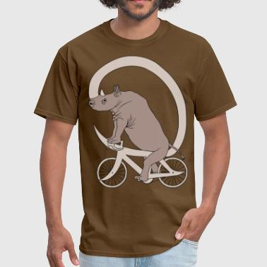 Rhino Riding It's Horn Bike  - Men's T-Shirt