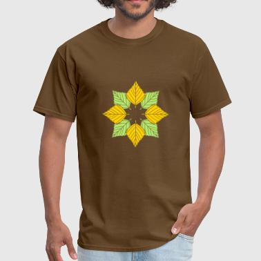 Logo Star many leaves colorful autumn silhouette star shape - Men's T-Shirt