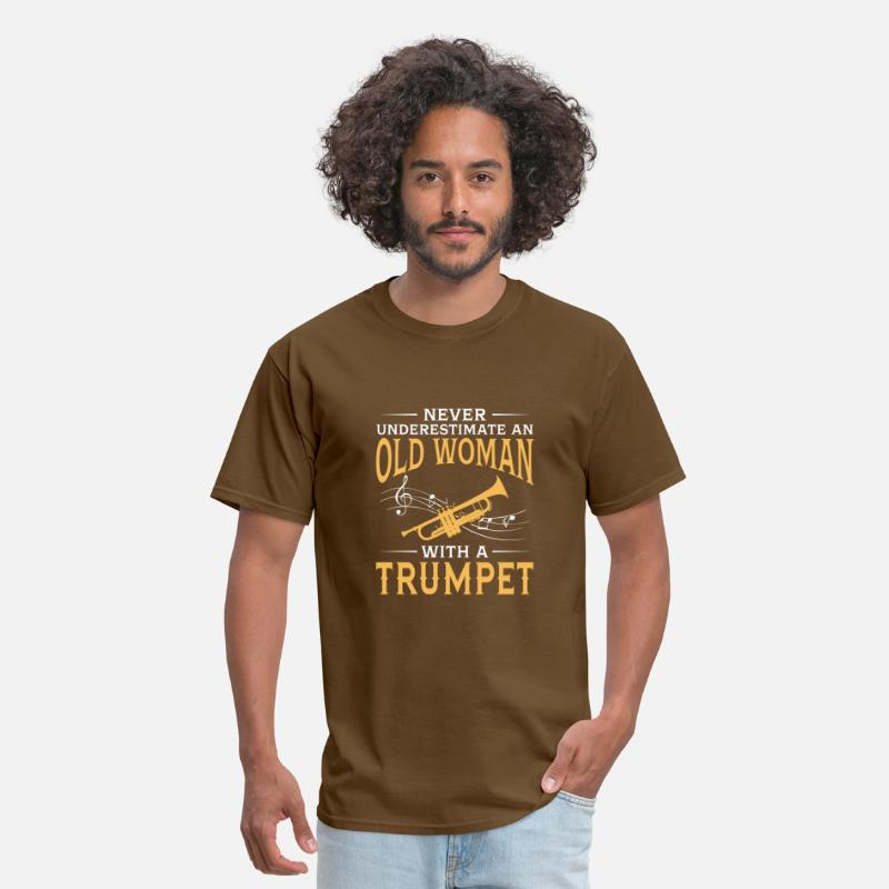 Orchestra T-Shirts - funny An Old Woman With A Trumpet - Men's T-Shirt brown