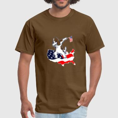 Funny Dabbing English Springer on American Flag Ma - Men's T-Shirt