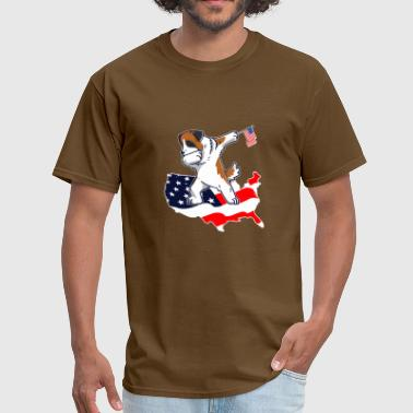 Funny Dabbing Saint Bernard on American Flag Map - Men's T-Shirt