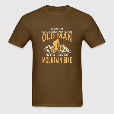 funny An Old Man With A Mountain Bike - Men's T-Shirt