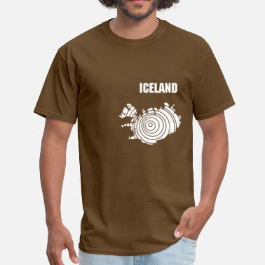 Euro Land Iceland map in rings - Men's T-Shirt