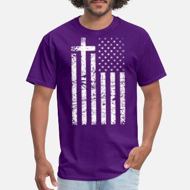 Distressed Christian Distressed White USA Flag Cross Have F - Men's T-Shirt