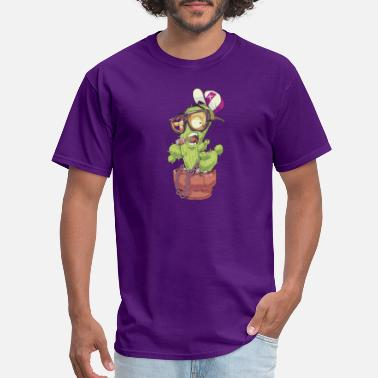 Cartoon Rapper cactus in cap glasses cool rapper flover - Men's T-Shirt